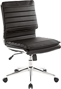 Office Star Faux Leather Armless Mid Back Managers Chair with Chrome Base, Black