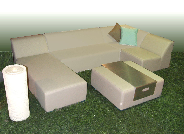 WOHNWERK! Lounge Möbel Serie MOOD! 5er Set - Absolut witterungsbeständig - (Beige, Material Stoff) Outdoor