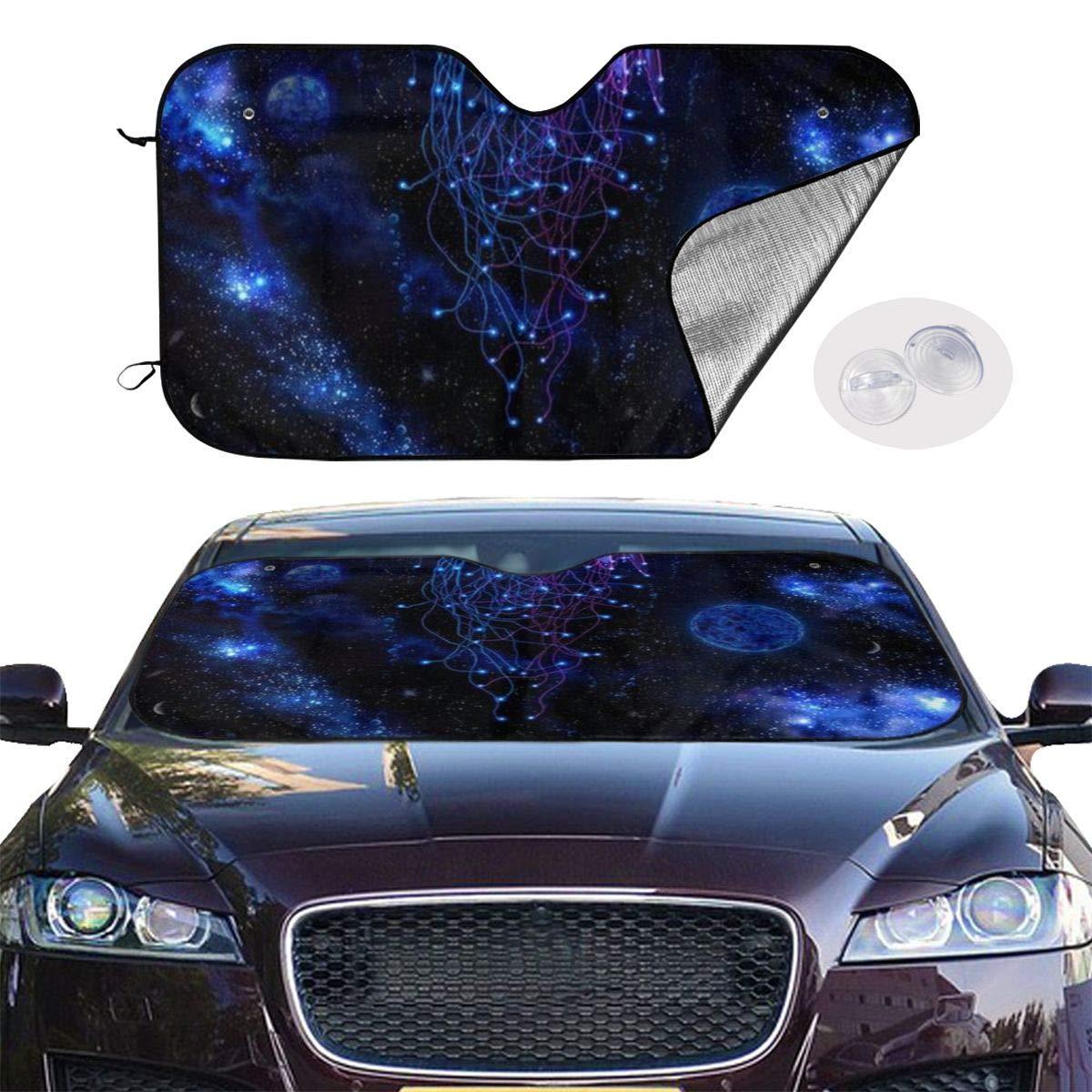 HE - Fashion Car Windshield Sun Shade - Blocks UV Rays Sun Visor Protector, Sunshade to Keep Your Vehicle Cool and Damage Free, Easy to Use - Cosmic Galaxy Under Sea Ocean Jellyfish by HE - Fashion