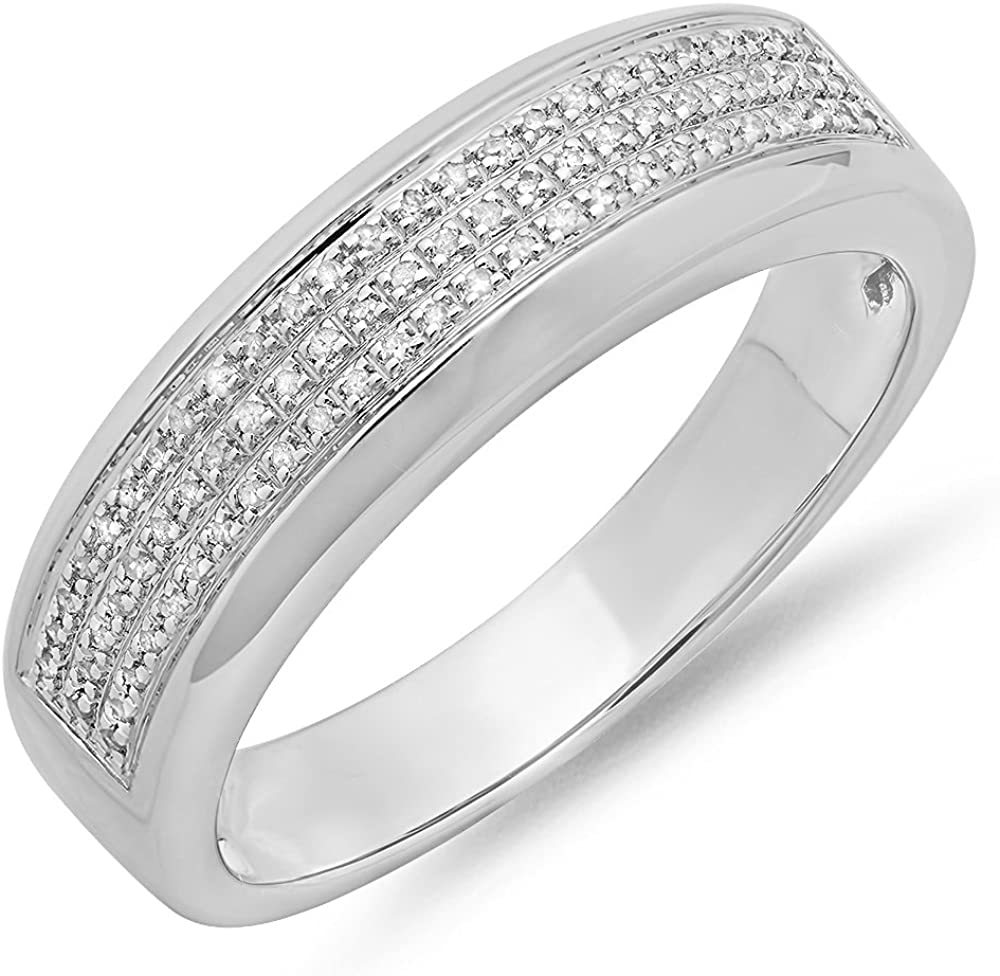Dazzlingrock Collection 0.25 Carat Sterling Silver Round White Diamond Mens Micro Pave Hip Hop Wedding Band 1//4 CT ctw