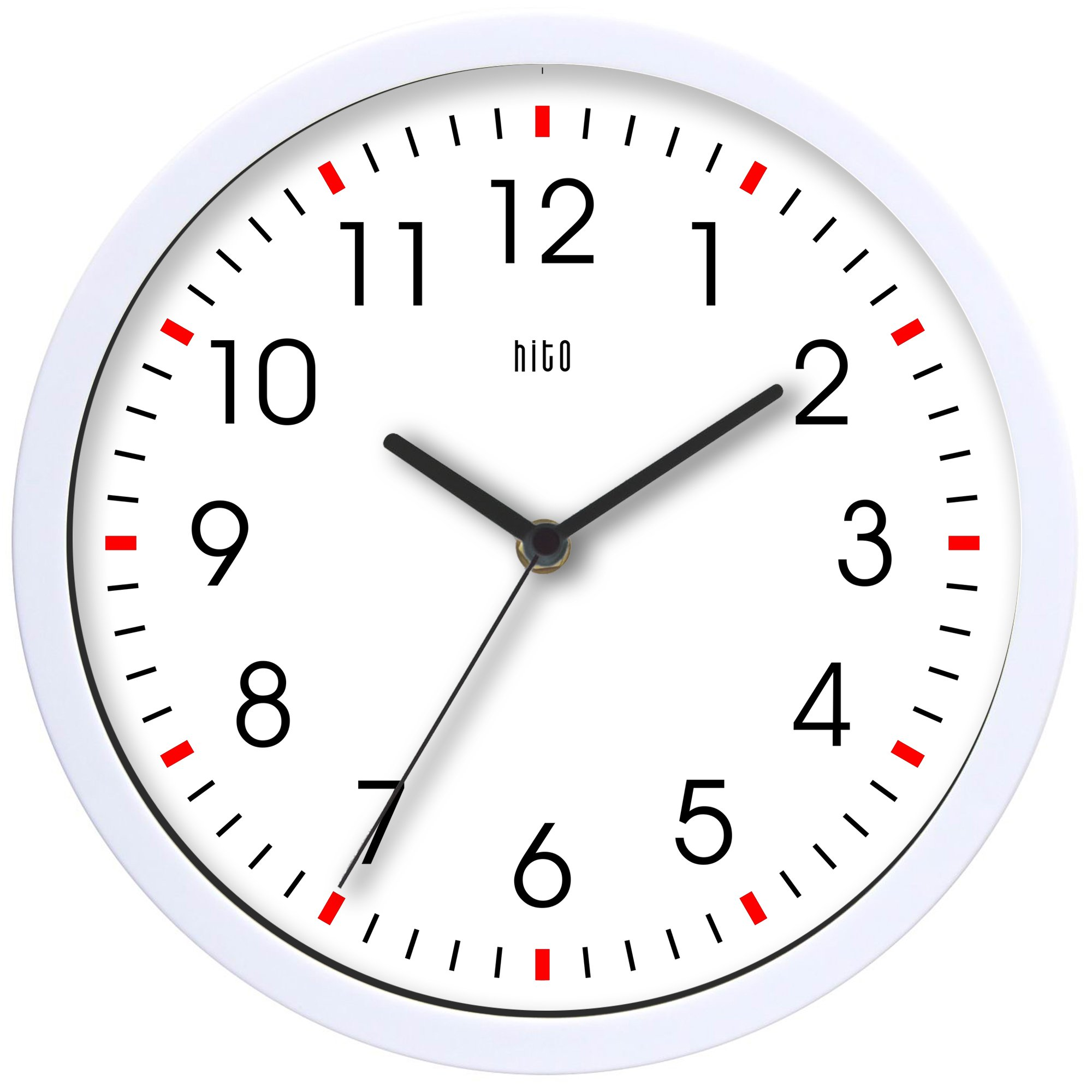 hito Silent Wall Clock Non ticking 10 inch Excellent Accurate Sweep Movement Glass Cover, Decorative for Kitchen, Living Room, Bathroom, Bedroom, Office (White#2)