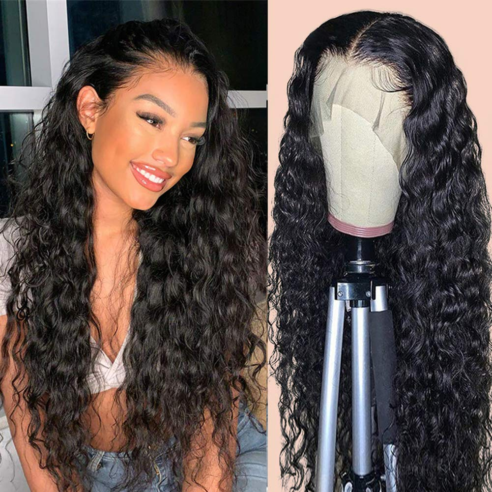 RECOOL 360 Lace Frontal Wigs Human Hair Pre Plucked With Baby Hair Brazilian Wet and Wavy Human Hair Water Wave Wigs 150% Density(18 inches, 360 Wig)