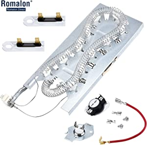 3387747 WP3387747 Dryer Heating Element with 279816 & 3392519 Dryer Thermal Fuse Thermostat Kit Replacement AP6008281 PS11741416