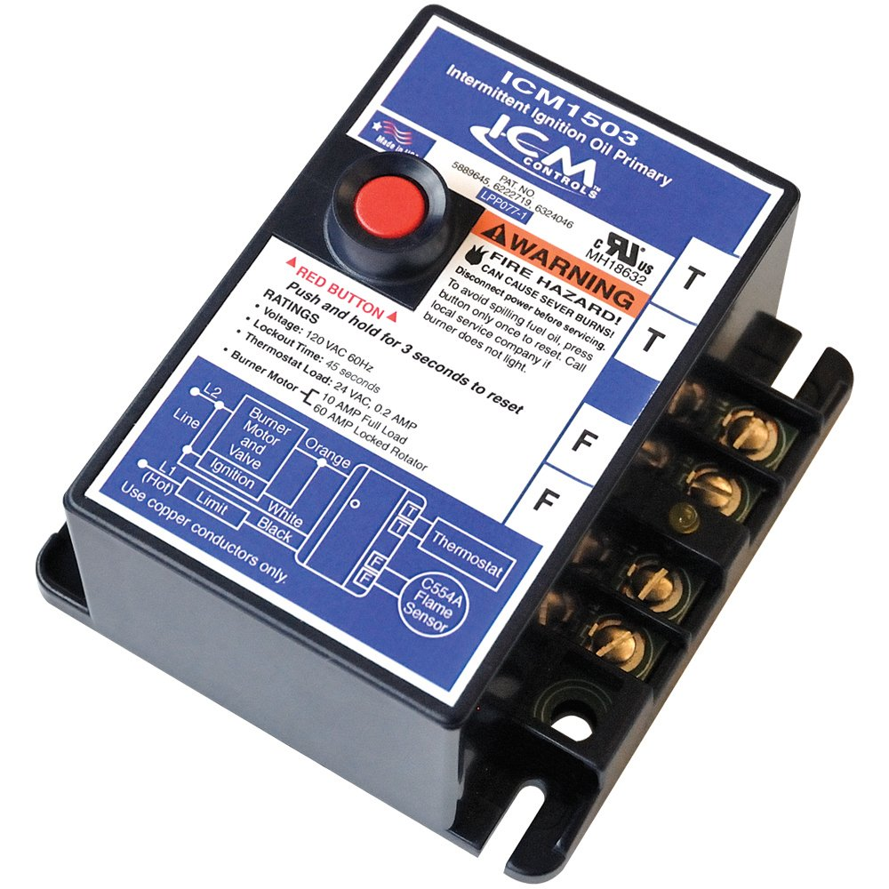 ICM Controls ICM1503 Oil Primary, Intermittent Ignition, Flame Sensing Circuit, 45 Sec, Safety Switch, Reset Button by ICM Controls (Image #1)