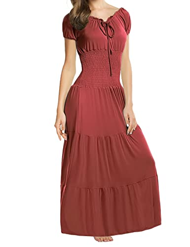 Meaneor Women Boho Cap Sleeve Smocked Waist Tiered Renaissance Party Maxi Dress