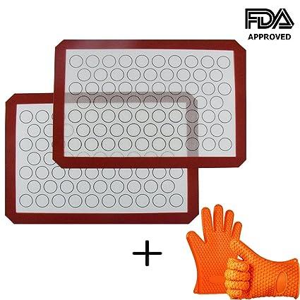 INCHANT silicona Macaron Hornear Mat con los guantes de silicona Horno, antiadherente de silicona Liner