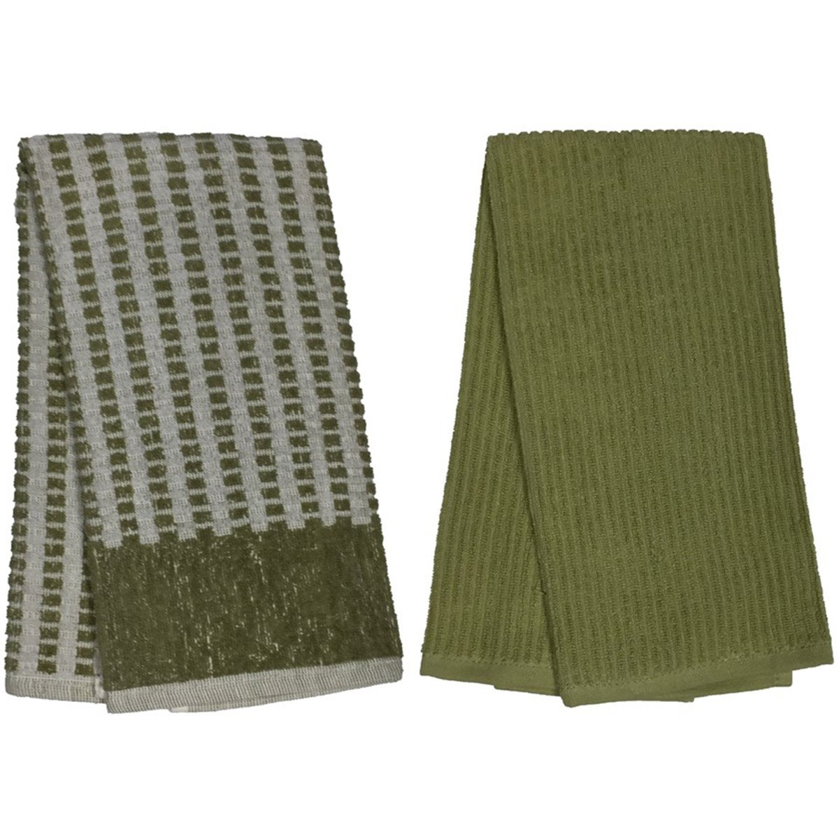 Set of 2, 100% Ringspun Cotton Premium Everyday Marseille Terry Kitchen Towels Size : 16'' x 27''. (Sage)
