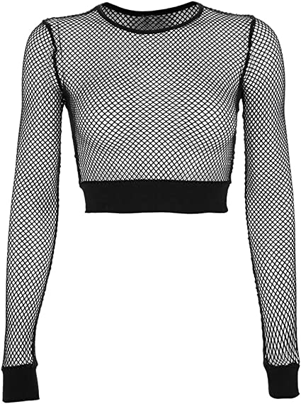 Womens Sheer Mesh Fish Net Short Long Sleeve See Crop Top T-Shirt Blouse 8-14