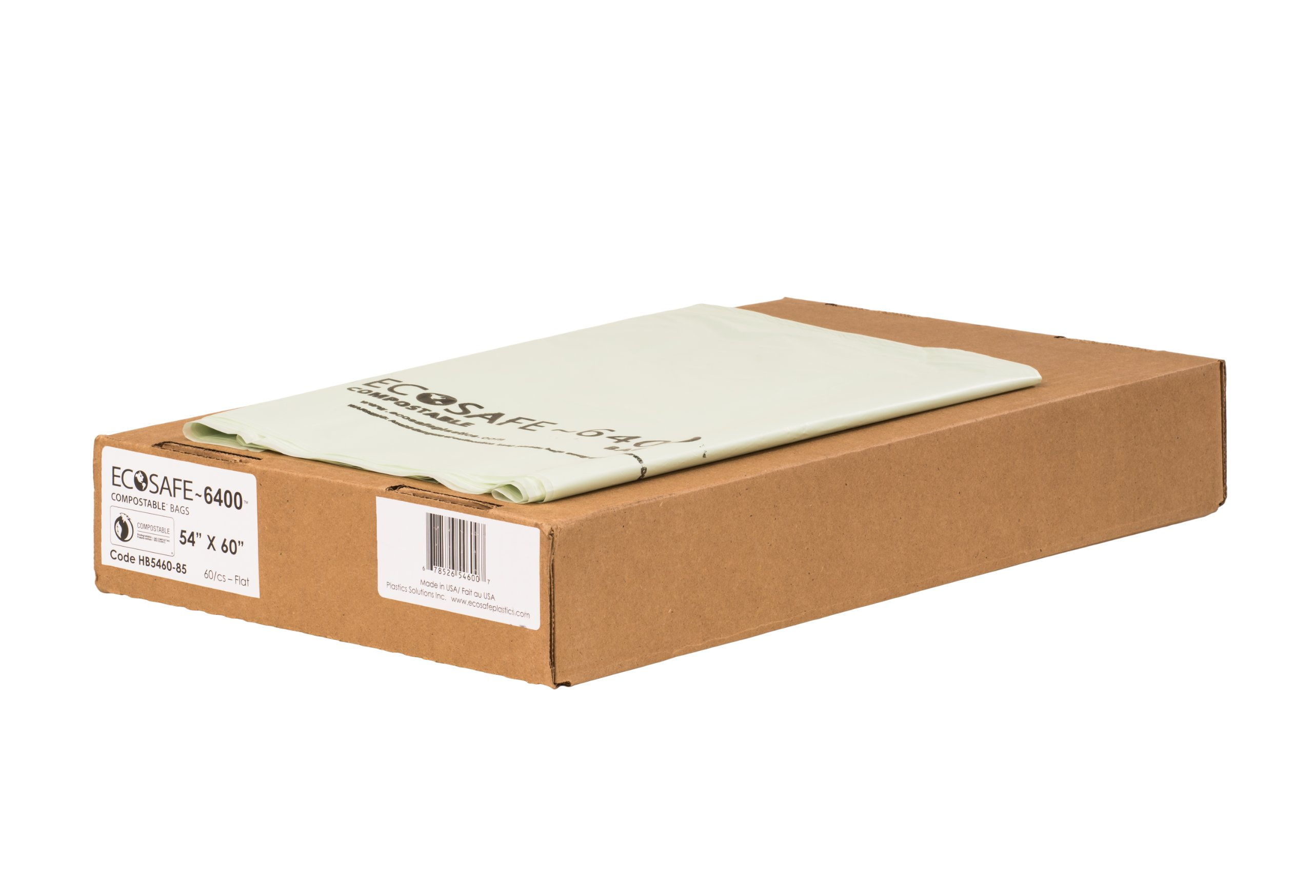 EcoSafe-6400 HB5460-85 Compostable Bag, Certified Compostable, 90-Gallon, Green (Pack of 60)