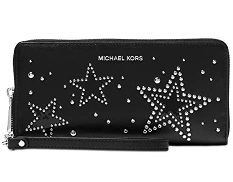 6ea8c8370874 Image Unavailable. Image not available for. Color  Michael Kors Studded  Stars Travel Continental Wallet - Black