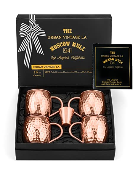 100% Copper Moscow Mule Mugs Gift Set :: Set of 4 Premium Moscow Mule