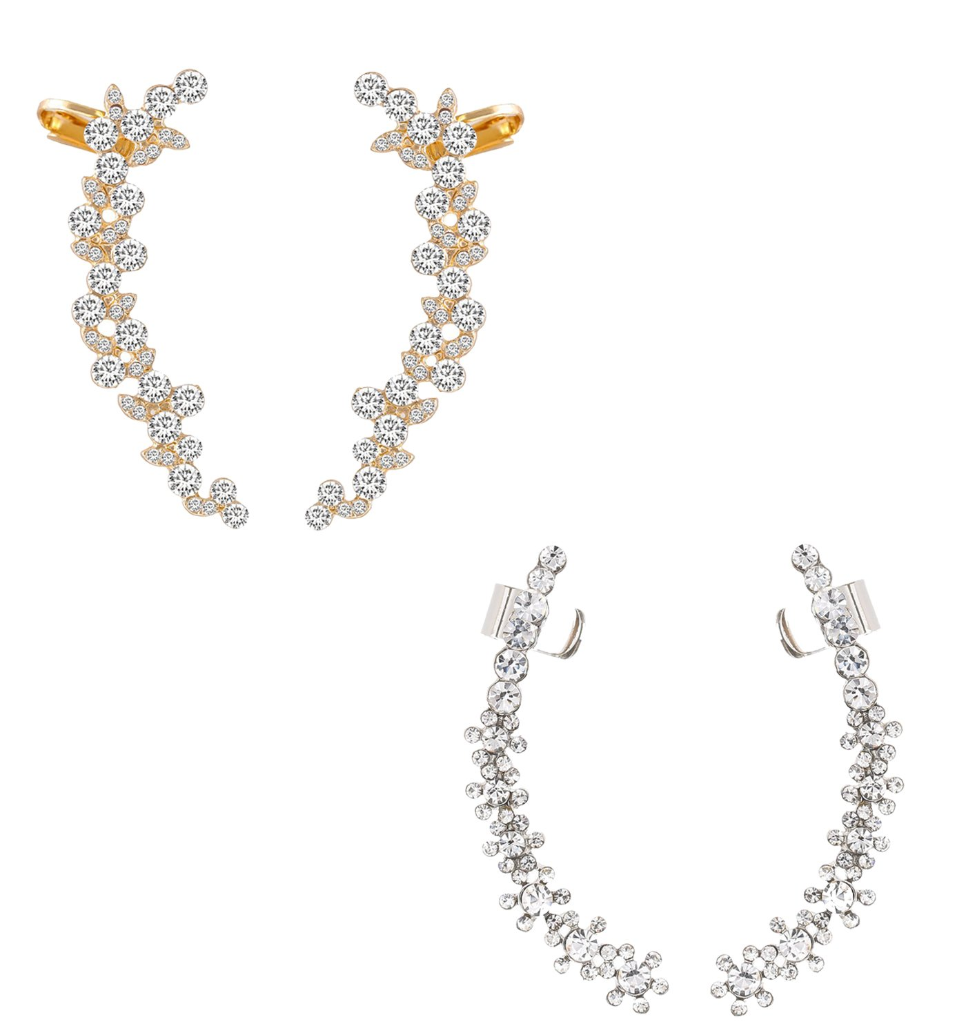 Boderier Ear Cuffs Crystal Flower Earrings Crystal Cluster Top Ear Clip (White and Wine)