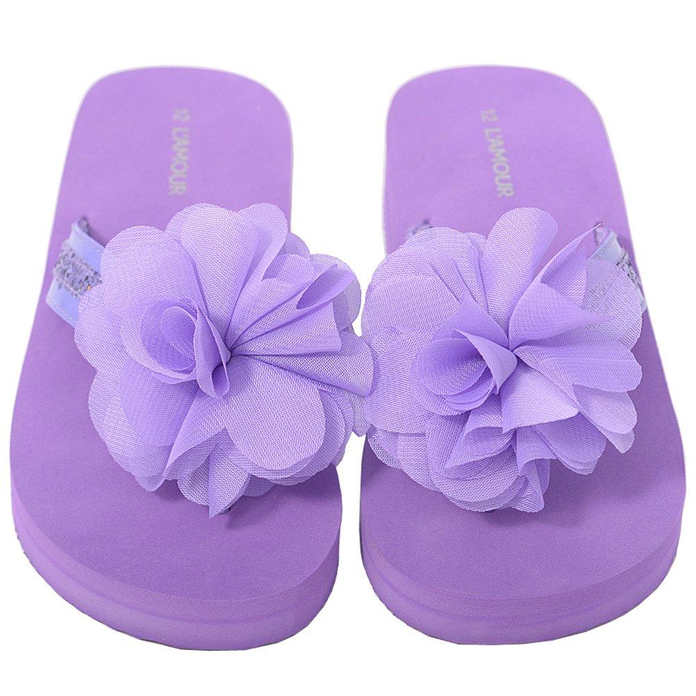 LAmour Purple Sequin Strap Flower Flip Flop Sandals Little Girls 11-4