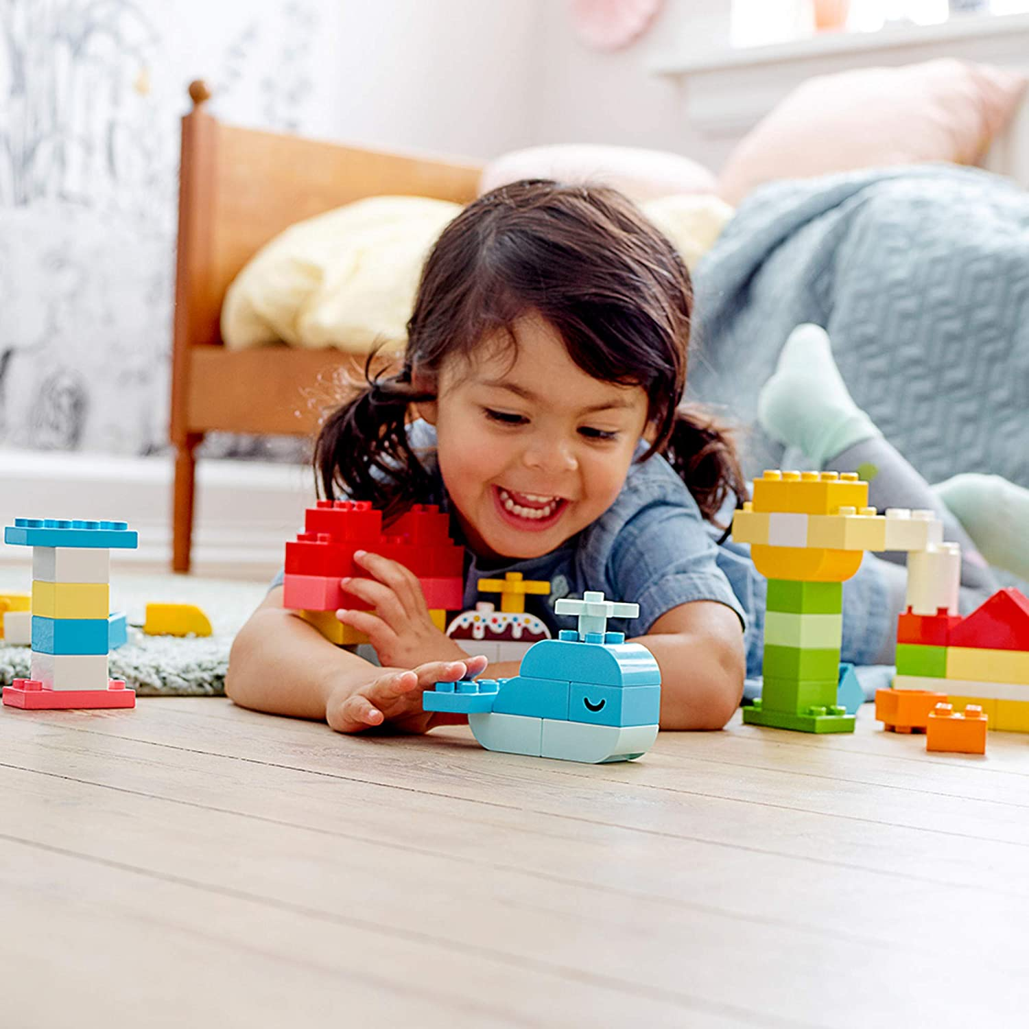 LEGO DUPLO Classic Heart Box 10909 First Building Playset and Learning Toy for Toddlers, Great Preschooler's Developmental Toy, New 2020 (80 Pieces)