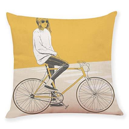 Pillow Covers Decorative 18x18 , Linen Sofa Cushion Case With Zipper ,Retro  Bike Pattern Style