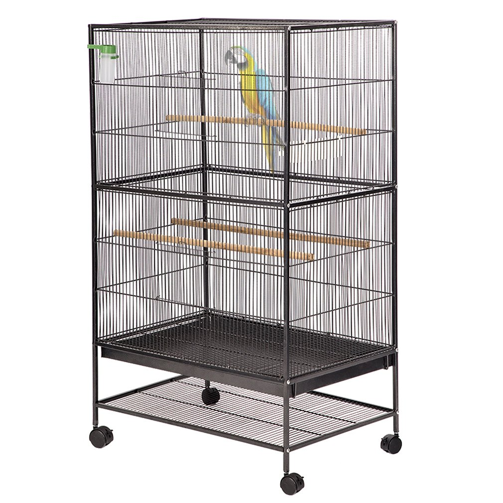 Bird Pet Wrought Iron Flight Cage, 53'' Heavy Duty Perch Stand w/Two Doors BestMassage by BMS