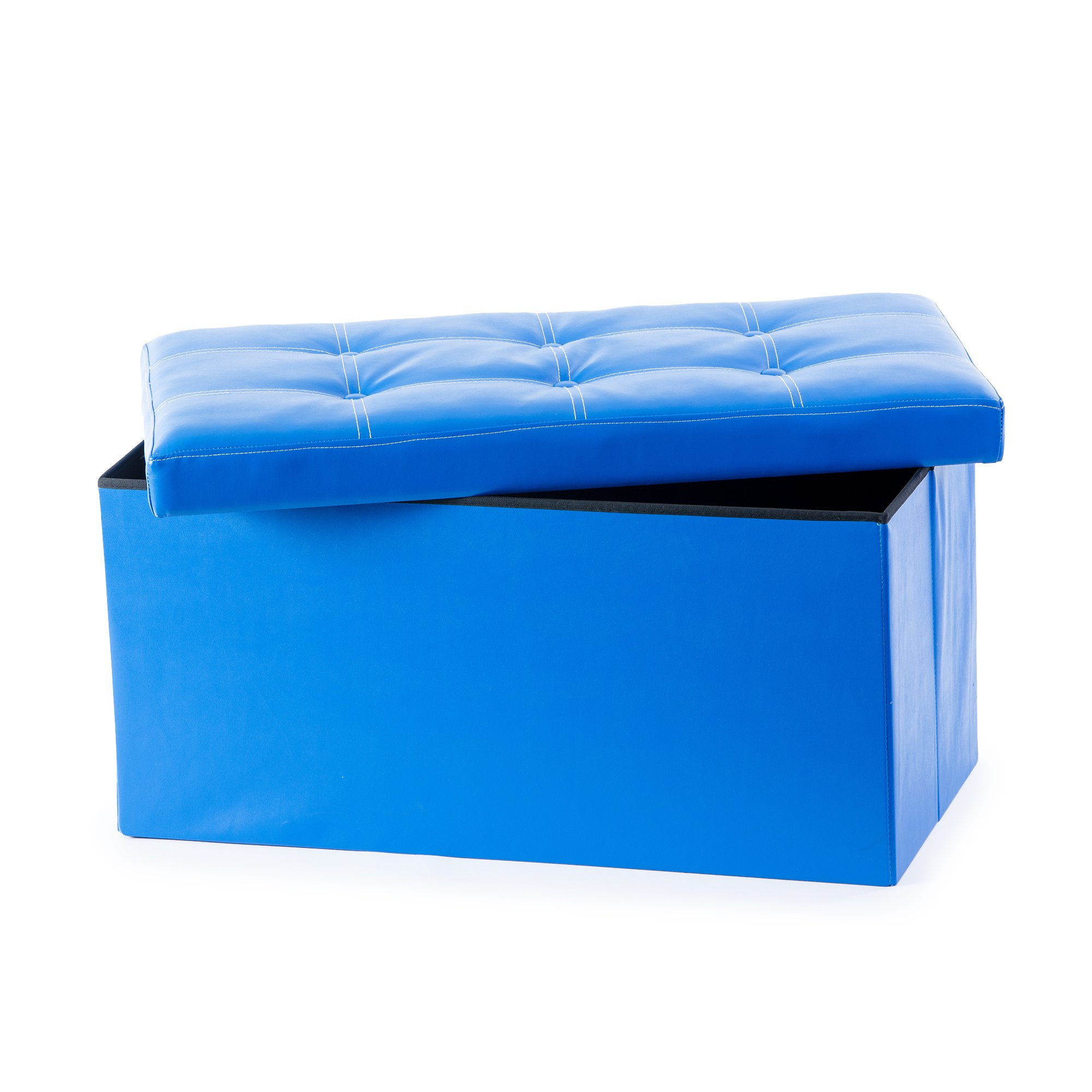 Guidecraft Storage Bench - Blue Ottoman Chest Removable Top Cushion, Kids Seat Foot Rest Stool Toy Box, Children's Furniture