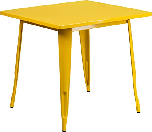 Flash Furniture Commercial Grade 31.5″ Square Yellow Metal Indoor-Outdoor Table