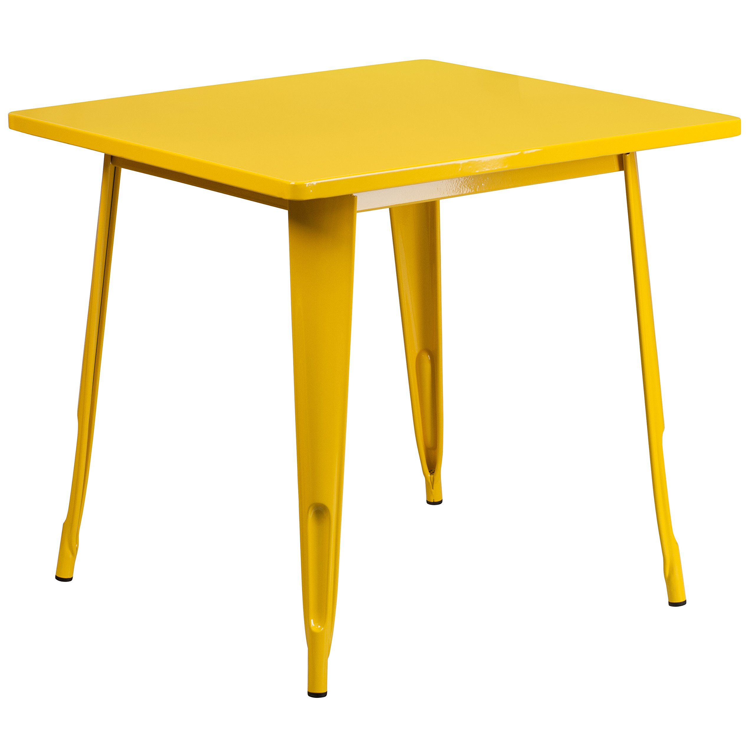 Flash Furniture 31.5'' Square Yellow Metal Indoor-Outdoor Table - ET-CT002-1-YL-GG by Flash Furniture
