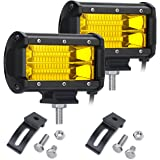 YGL Fog Lights, 2 X 72W Yellow Osram Flood Led Cube Light Drivng Lamp Offroad Light Bar Waterproof IP67 Offroad Light Bar For Jeep ATV Truck Snow 12V/24V