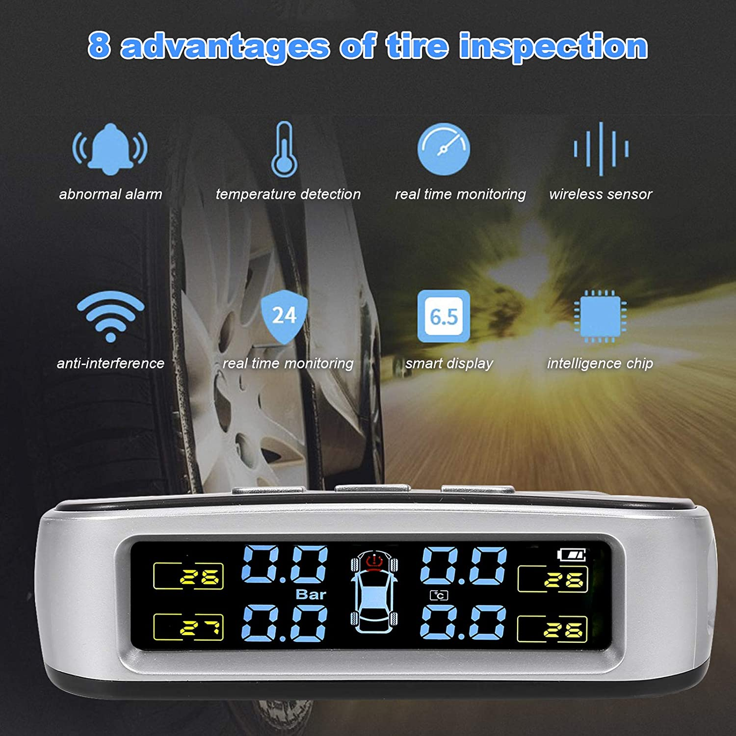 LED Display and Sound Warning KKmoon Car Reverse Backup Radar System with Solar TPMS 2 in 1 Wireless Tire Pressure Monitoring System and Reversing Radar with 4 Parking Sensors