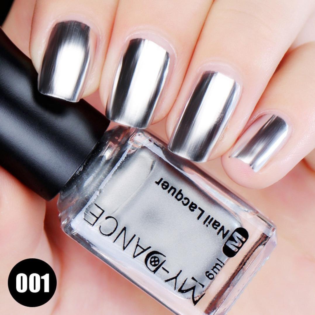 Amazon.com : Lookathot Silver Metallic Mirror Effect Nail Polish ...