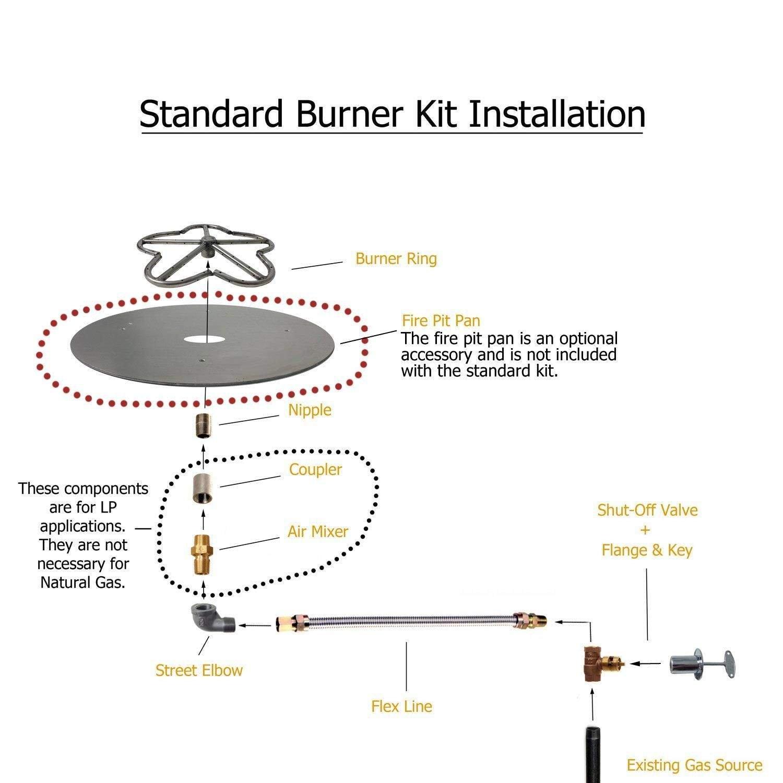 Amazon.com: Spotix HPC Round Fire Pit Burner Kit (FPS24KIT-NG-MSCB ...