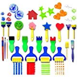 LAOZHOU 21 pieces Flower Sponge Painting Brushes for Kids Early Learning Painting Drawing Tools for Craft DIY Art Supplies