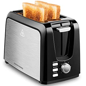 REDMOND 2 Slice Toaster Black Toasters with Pop Up Reheat Defrost Functions Toaster 2 Slice Best Rated Prime, 7 Shade Control, Removable Crumb Tray Toaster