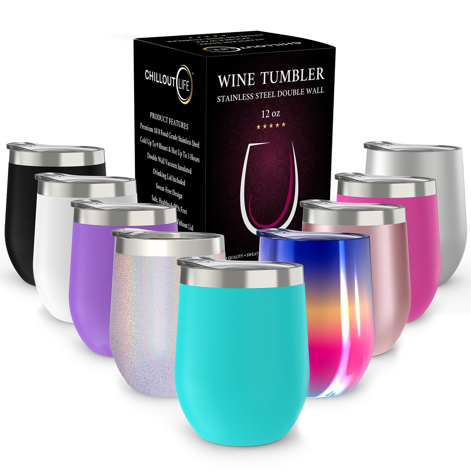 Stainless Steel Stemless Wine Glass Tumbler with Lid, 12 oz | Double Wall Vacuum Insulated Travel Tumbler Cup for Coffee, Wine, Cocktails, Ice Cream | Sweat Free, Unbreakable, BPA Free, Powder Coated by CHILLOUT LIFE