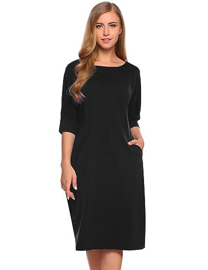 f58afa267851 OD lover Women Casual O Neck Plain Simple Loose Half Sleeve T-Shirt Dress