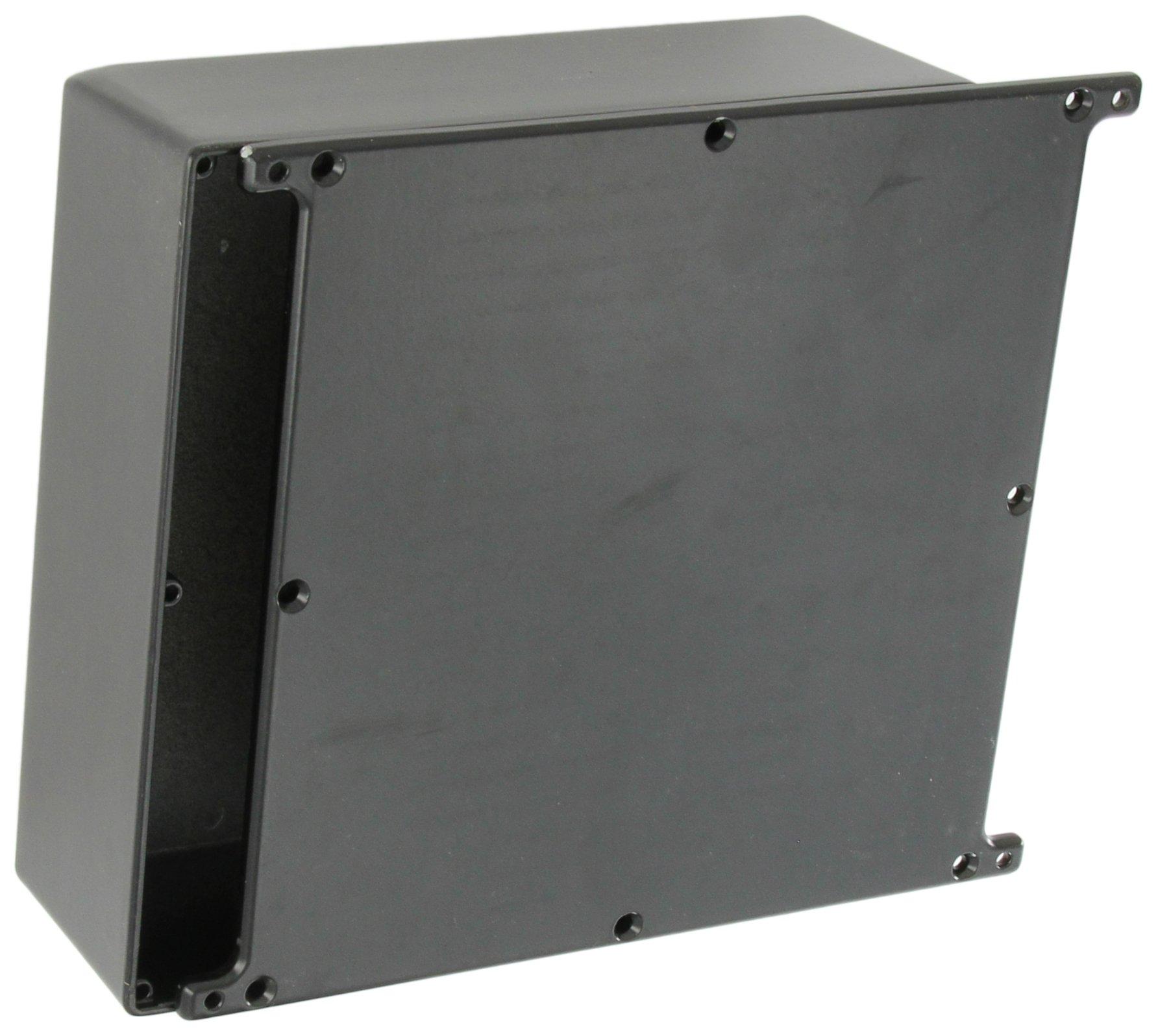 BUD Industries CU-5478-B Die Cast Aluminum Econobox with Mounting Bracket Cover, 7-1/2'' Length x 7-1/2'' Width x 2-39/64'' Height, Black Powdercoat Finish
