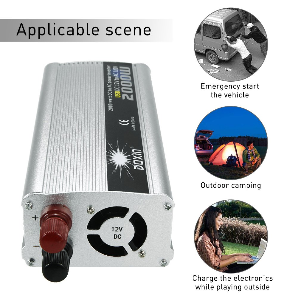 KKmoon 2000W Inversor de Corriente Portatil DC 12V a AC 220V ...