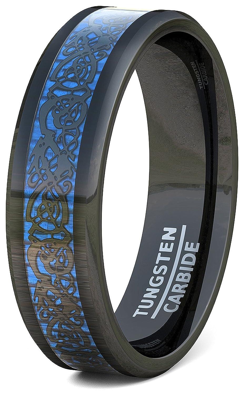 Duke Collections Mens Wedding Band 8mm Black Tungsten Ring Blue Celtic Dragon Beveled Edge Fort Fit Amazon: Bands Celtic Black Wedding Tungsten With At Websimilar.org