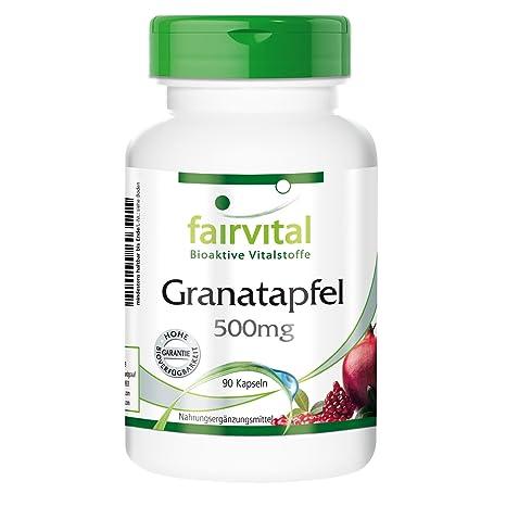 Granada cápsulas 500mg - VEGANO - Altamente dosificado - 90 cápsulas - rico en ácido elágico - ¡Calidad Alemana garantizada!