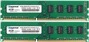 ROYEMAI 8GB DDR3 RAM Kit (2x4GB), PC3-8500 2Rx8 DDR3 1066 240-pin 1.5V UDIMM RAM Memory Upgrade for Desktop