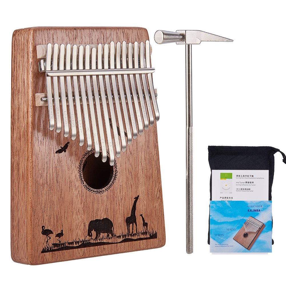 WANDIC 17 Keys Thumb Piano, Kalimba Finger Piano Portable Easy-to-Learn Musical Instrument with Tuning Hammer - Best Gift for Music Fans Adult Kids by WANDIC