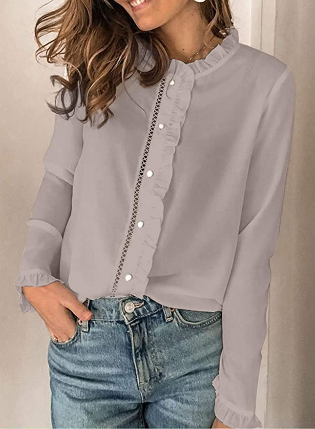 CORAFRITZ Camisa de mujer de manga larga abotonada ...