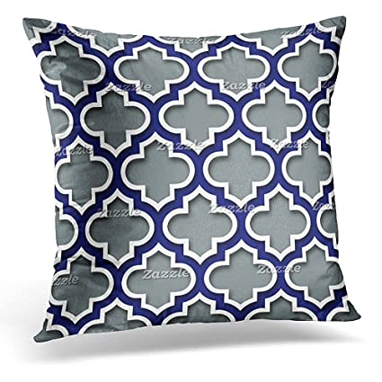123bb3e01db Throw Pillow Cover Blue Modern Charcoal Gray Navy White Moroccan Quatrefoil  Black Lattice Decorative Pillow Case