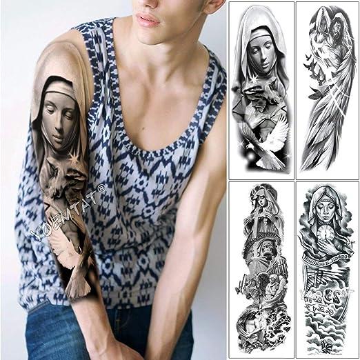 tzxdbh Gran Brazo Manga Tatuaje Virgen María Jesús Impermeable ...