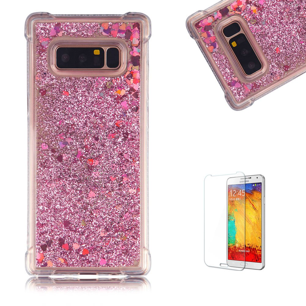 Funyye Liquid Quicksand Case for Samsung Galaxy Note 8, Sparkly Flowing Glitter Silver Love Hearts TPU Case for Samsung Galaxy Note 8, Slim Soft Rubber Flexible Clear Protective Silicone Case for Samsung Galaxy Note 8 + 1 x Free Screen Protector FUNYYE0035