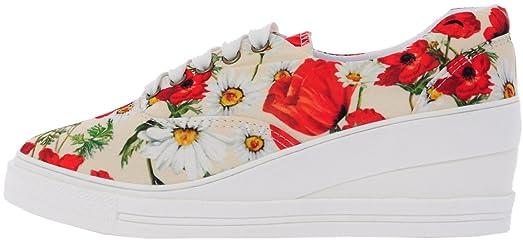 7H 5 Holes Flower Denim Pattern Platform Fashion Sneakers BeigeFlower 5.5  B(M) US