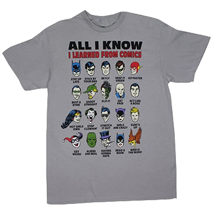 e5eed7721 Amazon.com: All I Know I Learned From Comics Adult Silver T-Shirt ...