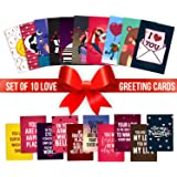 YaYa cafe Valentine Greeting Card for Girlfriend Boyfriend Husband Wife I Love You Postcards Gifts Set of 10