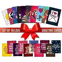 YaYa cafe Valentine Greeting Card for Girlfriend Boyfriend Husband Wife I Love You Postcards Gifts Set of 10