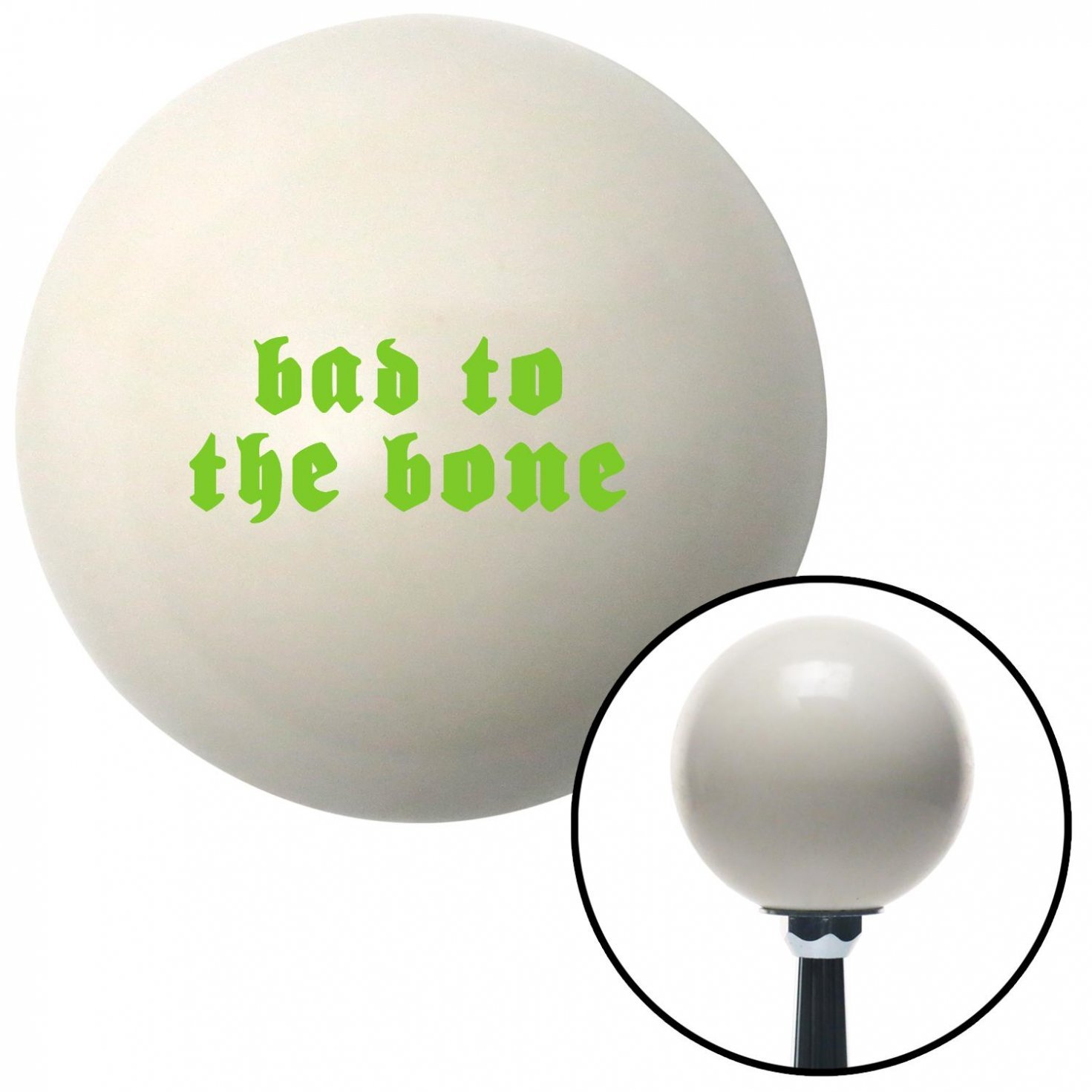 American Shifter 34269 Ivory Shift Knob with 16mm x 1.5 Insert Green Bad to The Bone