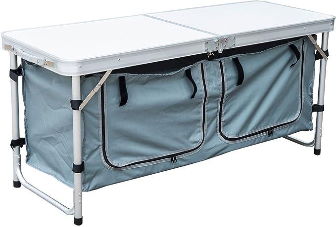 Outsunny Mesa Plegable Camping 120x47x68 cm Convertible en Maleta ...