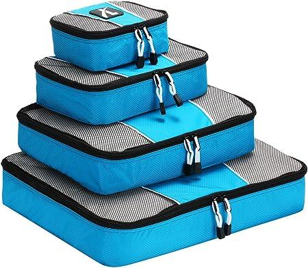 Bolsas de Equipaje, Leebotree Cubo de Viaje 4 Unidades Cubos de Embalaje Organizadores de Almacenamiento, para El Interior de Maletas - Grande, Mediano, pequeño,más pequeña(Aquamarine): Amazon.es: Equipaje