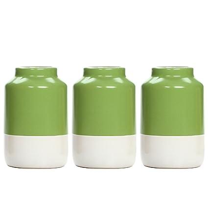 Amazon Hosleys Set Of 3 Green And White Ceramic Vases 5