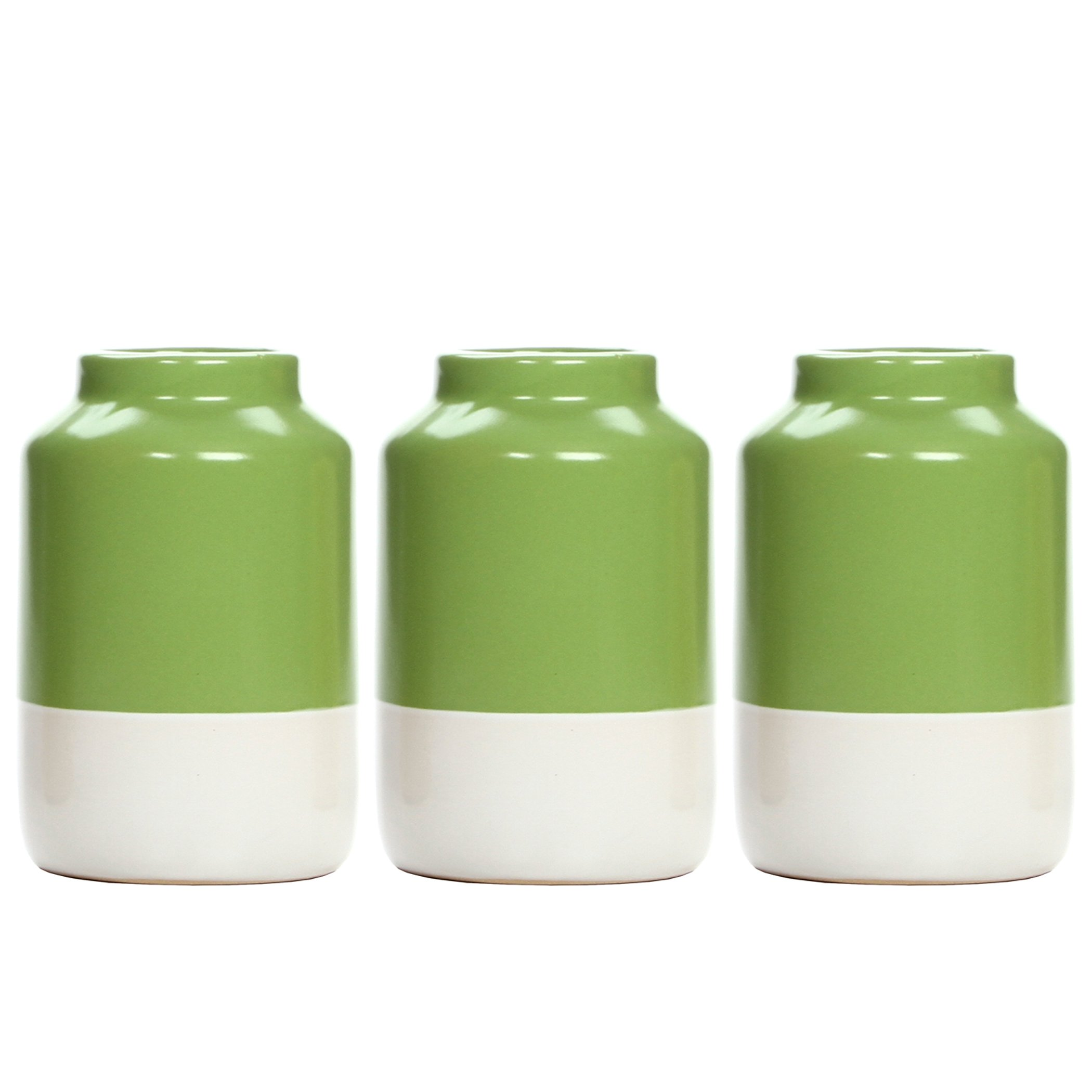 Hosley's Set of 3 Green and White Ceramic Vases - 5'' High. Ideal Gift for Wedding, Party, Dried Floral Arrangements, Spa, Votive LED Candle Gardens O7